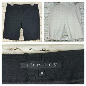 Theory womens 8 black beige shorts 2 bundle